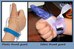 Plastic and Fabric Thumb Guards Kids Chatter Speech Pathology
