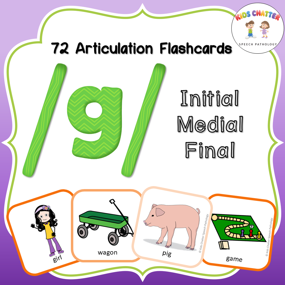 G Initial Medial Final Flashcards Kids Chatter Speech Pathology