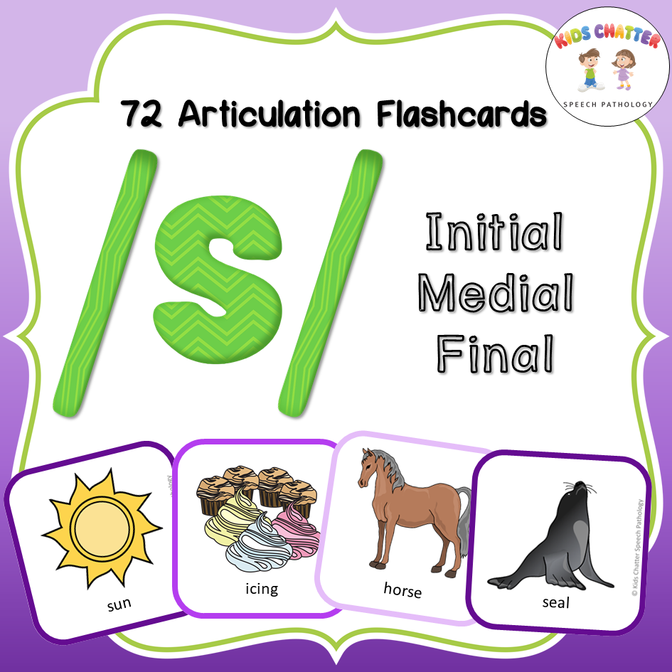 S Initial Medial Final Flashcards Kids Chatter Speech Pathology