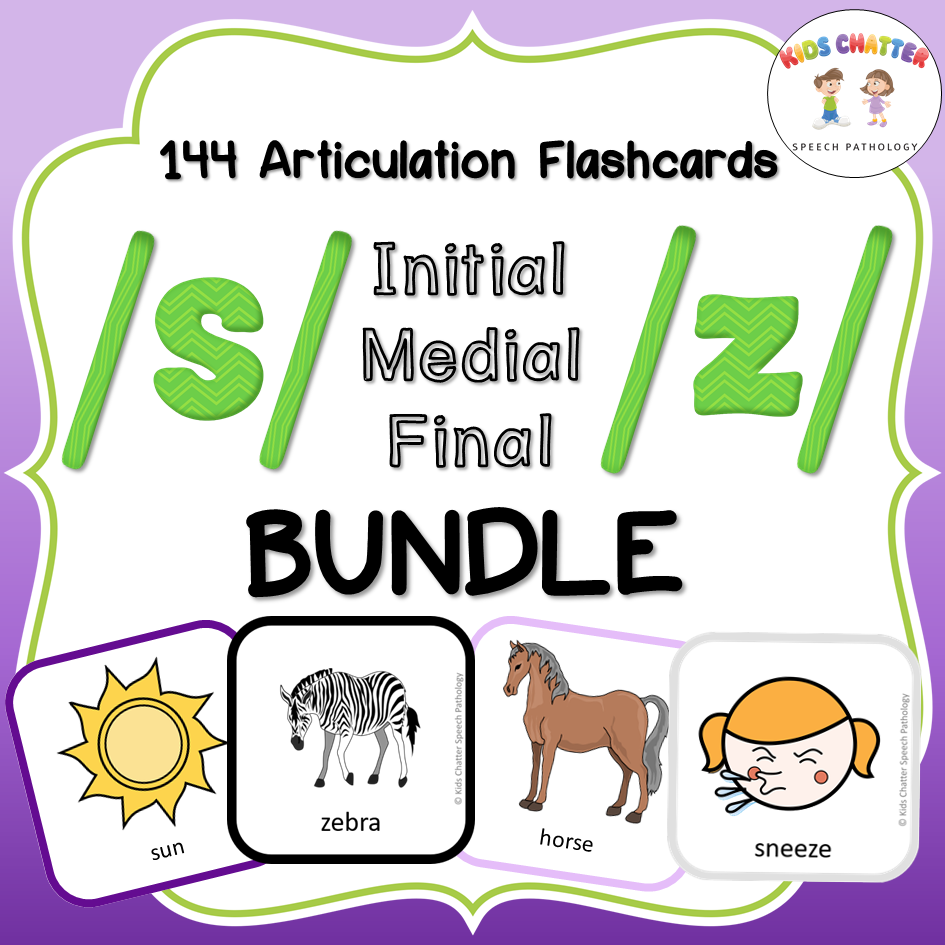 S and Z all positions bundle Flashcards Kids Chatter Speech Pathology