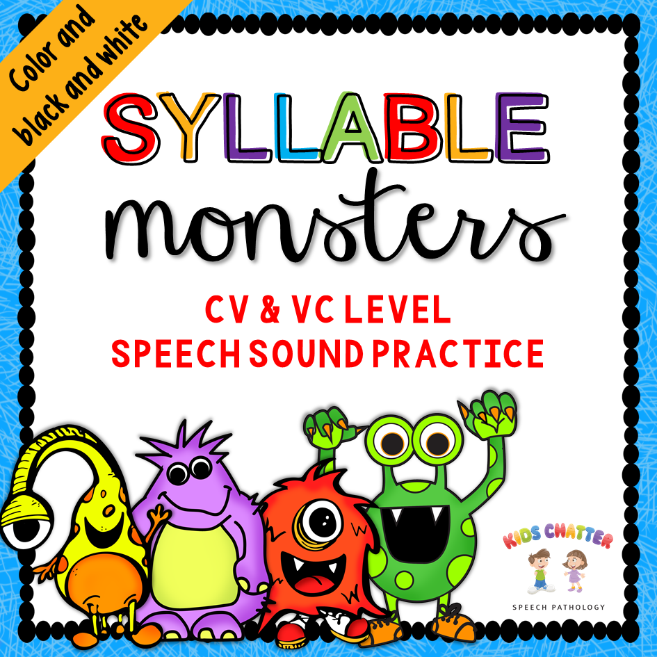 Syllable Monsters CV and VC Speech Sound Practice Kids Chatter Speech Pathology