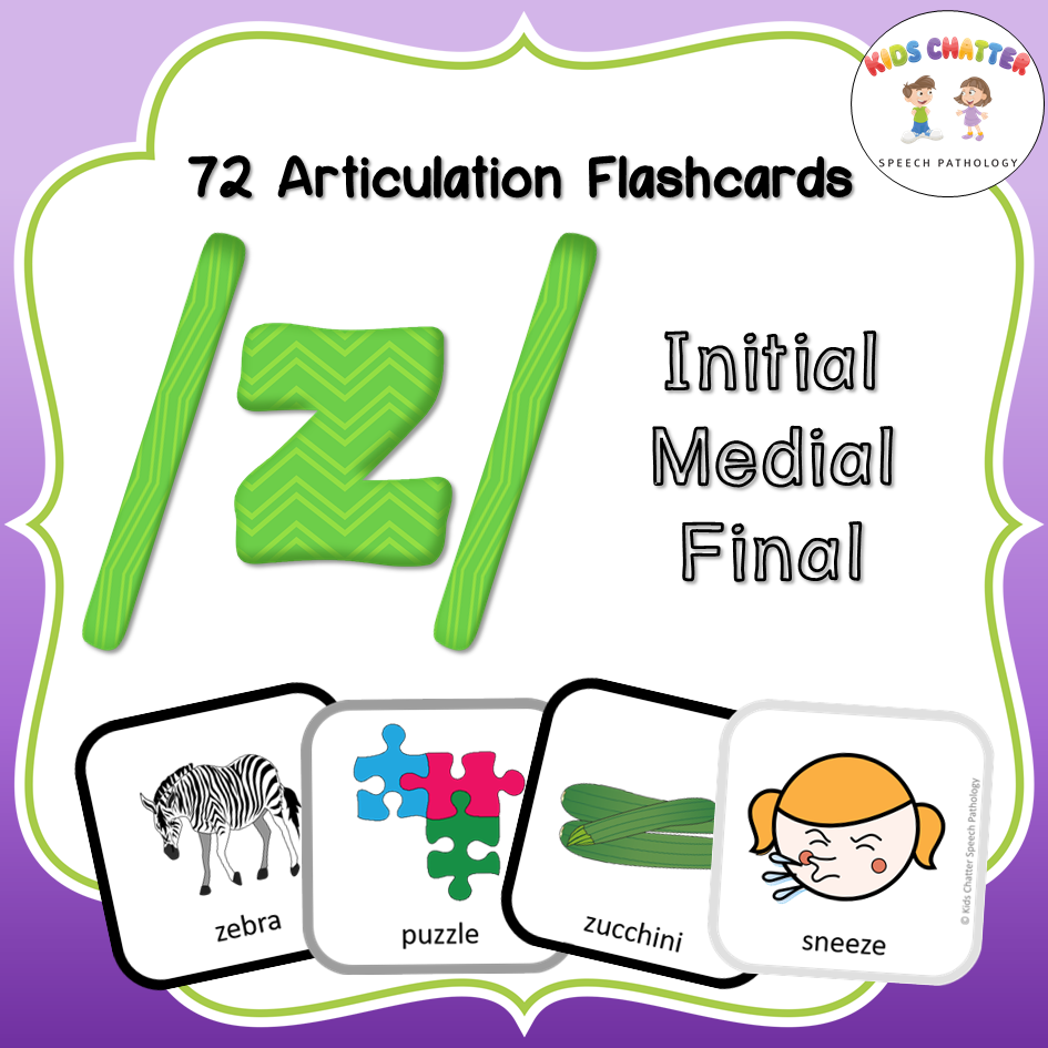 Z Initial Medial Final Flashcards Kids Chatter Speech Pathology